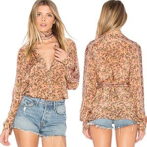 Free People Skyway Drive In Floral Button Down Top